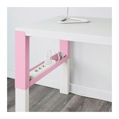 PÅHL Desk with add-on unit, white, pink white/pink 37 3/4x22 7/8