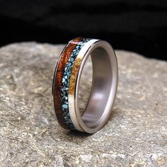 Titanium Wedding Band or Ring Select Wood Curly by HolzRingShop, $250.00