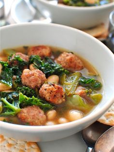 Skinny Slow Cooker Kale and Turkey Meatball Soup - foodiecrush