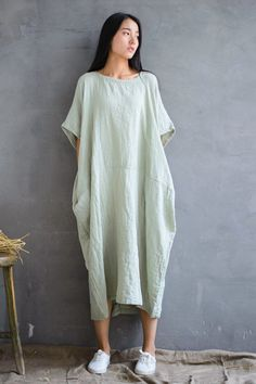 2018 Cotton Loose Plus Size Long Dress Women Dress | FantasyLinen