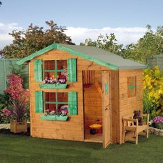 Buy Waltons 7 x 5 Snowdrop Wooden Playhouse with Loft at Waltons Garden Buildings. Game Room Design, Playroom Design, Wooden Playhouse, Playhouse Ideas, Play Yard, Backyard Play, Garden Buildings, Garden Houses, Garden Sheds