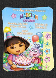 Custom Dora the Explorer Birthday Party Invitations