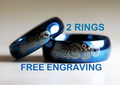 Top Quality Tungsten Carbide His/ Hers, Deep Ocean Blue, High Polish Dome Doctor Who Design 6MM/ 8MM