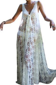 Sexy Honeymoon White Lace Plunging Neckline Maxi Dress