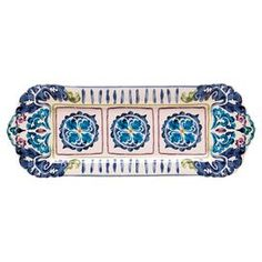 """Perfect for setting out hors d'oeuvres at your next soiree, this eye-catching stoneware platter brings a pop of style to your decor with a hand-applied damask motif.  Product: PlatterConstruction Material: StonewareColor: Blue, green and purpleFeatures:  Hand-applied damask motifRectangular designDimensions: 16"""" W x 6.3"""" D"""