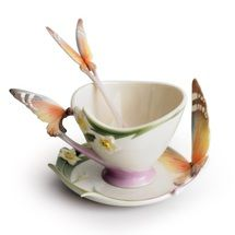 Butterfly Cup Saucer Spoon   xp1693   Franz Porcelain Collection
