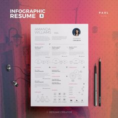 UltraClean Infographic Resume Vol.3  Word and by TheResumeCreator