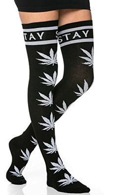 Get ready for Festival Season and 'stay high' with these weed print thigh high socks. All black knee high socks features weed print cannabis throughout the sock.