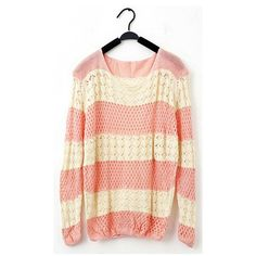 Sweet Style Loose-Fitting Color Splicing Openwork Fish Net Knitting Women's Sweaters