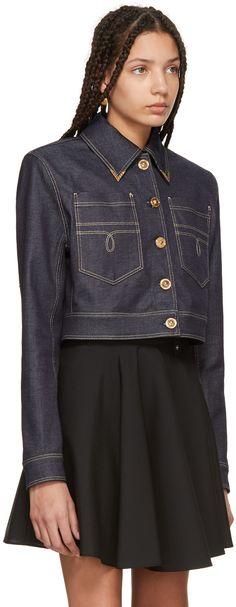 Versace - Blue Denim Cropped Jacket