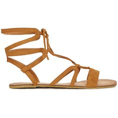 ShoeDazzle Flat Sandals Camila Womens Brown ❤ liked on Polyvore featuring shoes, sandals, brown, flats, flat sandals, brown shoes, ankle wrap flat sandals, ankle strap sandals, flat shoes and wrap sandals