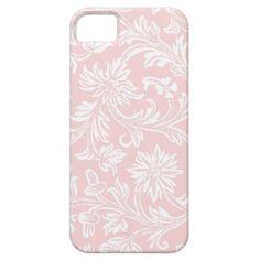 Vintage Pink & White Floral Damask iPhone 5 Case