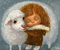 Lamb and girl prophetic art. Cute Paintings, Cross Paintings, Animal Paintings, Illustration Art Dessin, Baby Illustration, Lapin Art, Prophetic Art, Angel Art, Whimsical Art