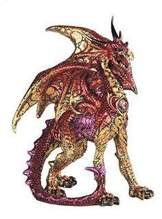 "5"" Red Medieval Dragon Standing Fantasy Statue Decorative Figurine Figure"