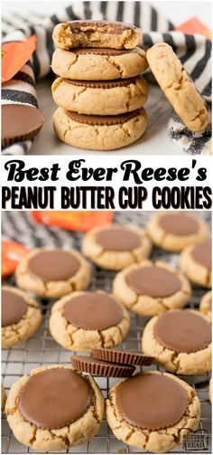 Reese's Peanut Butter Cup Cookies are a mega soft & chewy peanut butter cookie baked & then topped with a Peanut Butter Cup straight out of the oven! Perfect peanut butter cookie for all Peanut Butter and Chocolate lovers! from BUTTER WITH A SIDE OF BREAD Peanut Butter Cups, Chewy Peanut Butter Cookies, Best Peanut Butter, Yummy Cookies, Cookie Butter, Recipes With Peanut Butter, Peanut Recipes, Soft Butter Cookies Recipe, Reese Cup Cookies