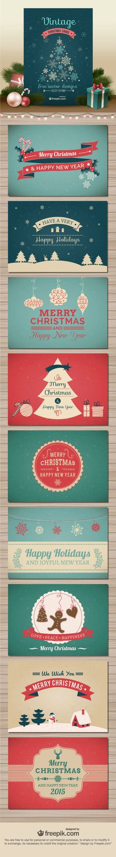 10 Free Vector Christmas Cards Created by Freepik; Exclusively Available Here