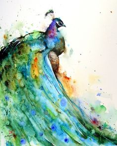 Would be an amazing tat Watercolor Peacock.