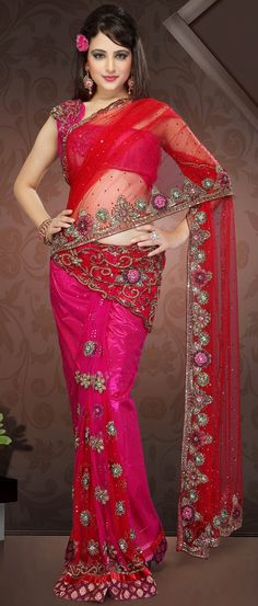 #Red and Dark #Pink Net Ready Pleated #Saree with Blouse  $454.90