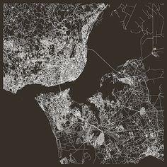 LISBON CITY MAP Fine Art Map Poster Modern by EncoreDesignStudios
