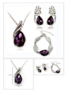 Teardrop Crystal Necklace Earrings Bracelet #Jewelry Set FREE SHIPPING #onlineshopping http://krat.im/6kh