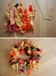 fabric wreath - you can use fabric in spring colors, of July colors, fall color, Christmas colors.a wreath for every season. Crafts To Do, Fall Crafts, Halloween Crafts, Holiday Crafts, Diy Crafts, Wreath Crafts, Diy Wreath, Wreath Ideas, Fabric Wreath