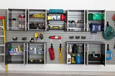 """Garage: Work your walls. Use all the wall space available; this not only keeps things off the floor, but also leaves optimal space for your car. """"Consider a wall track system to hang shovels and other tools in an easy-to-reach place by the garage door,"""" says Kiss. """"For heavy, bulky items such as winter sports equipment, install deep garage shelving with metal stiffeners."""""""