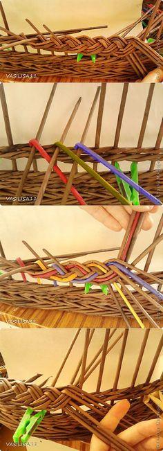 Косичка из трех пар с тремя дополнительными трубочками;) | Страна Маст� | Плетение из газет
