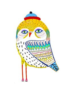 The Stunning Owl. Illustration Art Print, kids art, nursery decor, owl art.