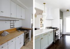 love the mismatched oven to hood.. white blends// simple non backspash option.. cutout opening to living area // notice the before wall next to stove and after wall... opening to ceiling.. that would be nice on both our openings.. widen as much as possible.