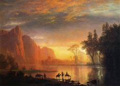 Yosemite Valley Sunset   Albert Bierstadt   oil painting #americanlandscapes