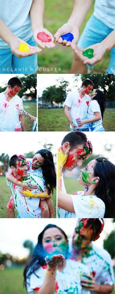 www.melaniemccuskerphotography.com  paint fight engagement