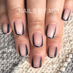 "NAILS by MEI on Instagram: ""Gray and navy  for @carriebyalick #nailsbymei #gelnail #grafic #nailart"""