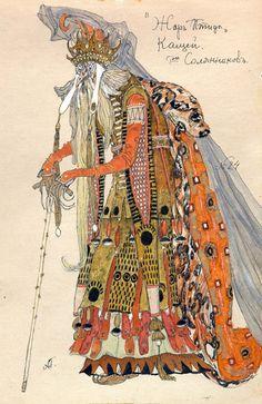 Alexandre Golovine (1863-1930). L'Oiseau de Feu, Costume design for Kostcheï the Immortal, undated. Watercolor and ink. b *2004MT-73. Bequest of the Bayard Kilgour Estate, 2001.