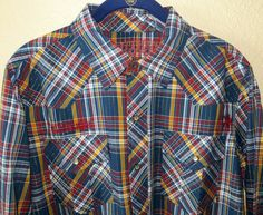 SOUTHERN THREAD MENS LS COWBOY RODEO WESTERN  BLUE YELLOW PLAID SHIRT NWT M $70 #southernthread #Western  $14.99!