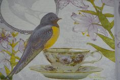 Receive 4 Napkins Spring into your decoupage projects with this delightful Robin sitting on a china cup and saucer paper napkin.