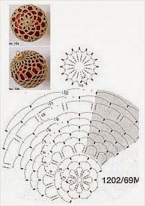 Crochet Lace to Cover a Christmas Ball - Thread with a metschematy bombek by siwabombka na Stylowi.crochet for X-Mas 3d Christmas, Crochet Christmas Ornaments, Christmas Crochet Patterns, Crochet Snowflakes, Beaded Ornaments, Christmas Balls, Christmas Globes, Crochet Tree, Crochet Ball