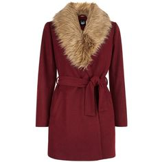 New Look Teens Burgundy Wrap Front Faux Fur Collar Coat (93 BAM) ❤ liked on Polyvore featuring outerwear, coats, jackets, burgundy, burgundy coat, red coat, new look coats and faux fur collar coat