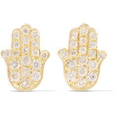 Jennifer Meyer Mini Hamsa 18-karat gold and diamond earrings ($1,785) ❤ liked on Polyvore featuring jewelry, earrings, gold, diamond jewellery, stud earrings, 18k jewelry, polish jewelry and diamond earring jewelry