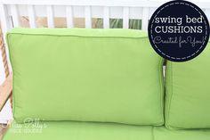 Apple green outdoor cushions are fresh and crisp. Glider Rocker Cushions, Bed Cushions, Custom Cushions, Foam Cushions, Throw Pillows, Outdoor Glider, Outdoor Chair Cushions, Outdoor Living, Living Spaces