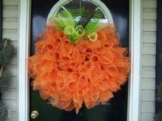 the doors, tulle wreath, halloween door, halloween pumpkins, front doors, fall wreaths, deco mesh wreaths, halloween wreaths, door deco