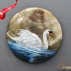 HAND PAINTED SWAN NATURAL MOP MOTHER OF PEARL SHELL  NECKLACE PENDANT ZL3005856 #ZL #PENDANT