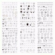 Kit 6 folhas de adesivos  CA00551  6 cartelas de adesivos fofos, cada cartela contém um tipo diferente de desenho. A medida de cada cartela é 10,5cm x 15,5cm Este produto você encontra nas lojas Bala Mental,entre em contato conosco em nossa fan page: