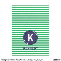 #Personalized #Monogram #Kelly #Green #Stripes #Navy #Blue #Boys #Fleece #Blanket