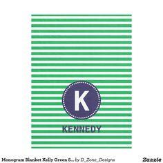 #Personalized #Monogram #Kelly #Green #Stripes #Navy #Blue #Boys #Fleece #Blanket