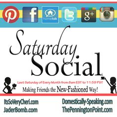 Saturday Social Party for Pinterest ~  Get more followers and find some great blogs to follow