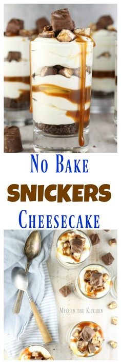 No Bake Snickers Cheesecake is one of the easiest desserts to make. Perfect for any night of the week or great for entertaining. Get the recipe at MissintheKitchen.com