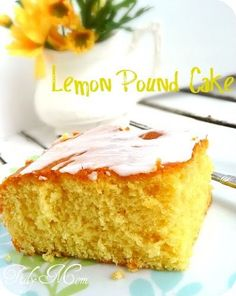 Lemon Pudding Pound Cake~   1 box Lemon Instant Pudding mix (4 serving size)  1 box Yellow Cake Mix  4 eggs  1 cup water  1/2 cup oil  Lemon Glaze  2-3 Tablespoons lemon juice  1 cup of powdered sugar  Grease and flour 9×13 pan. Pre-heat oven to 350.  Combine all ingredients and mix for 2 mins at medium speed.  Bake at 350 for 30-35 mins.  Cool and top with Lemon Glaze.  Lemon Glaze  whisk lemon juice and powdered sugar until smooth and drizzle over cake