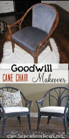 Goodwill Cane Chairs Makeover