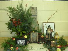 Here is a display I created for a floral design class I took a few years ago.