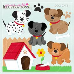 Dog Days Cute Digital Clipart for Invitations by JWIllustrations, $5.00